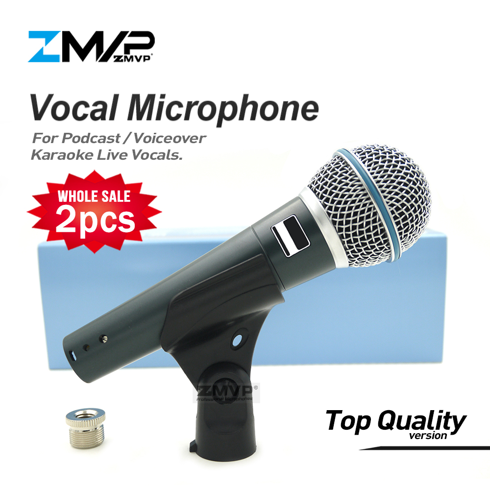 2pcs Top Quality Version Super cardioid BETA58 Live Vocals Karaoke Dynamic 58A Wired Microphone Podcast Microfone