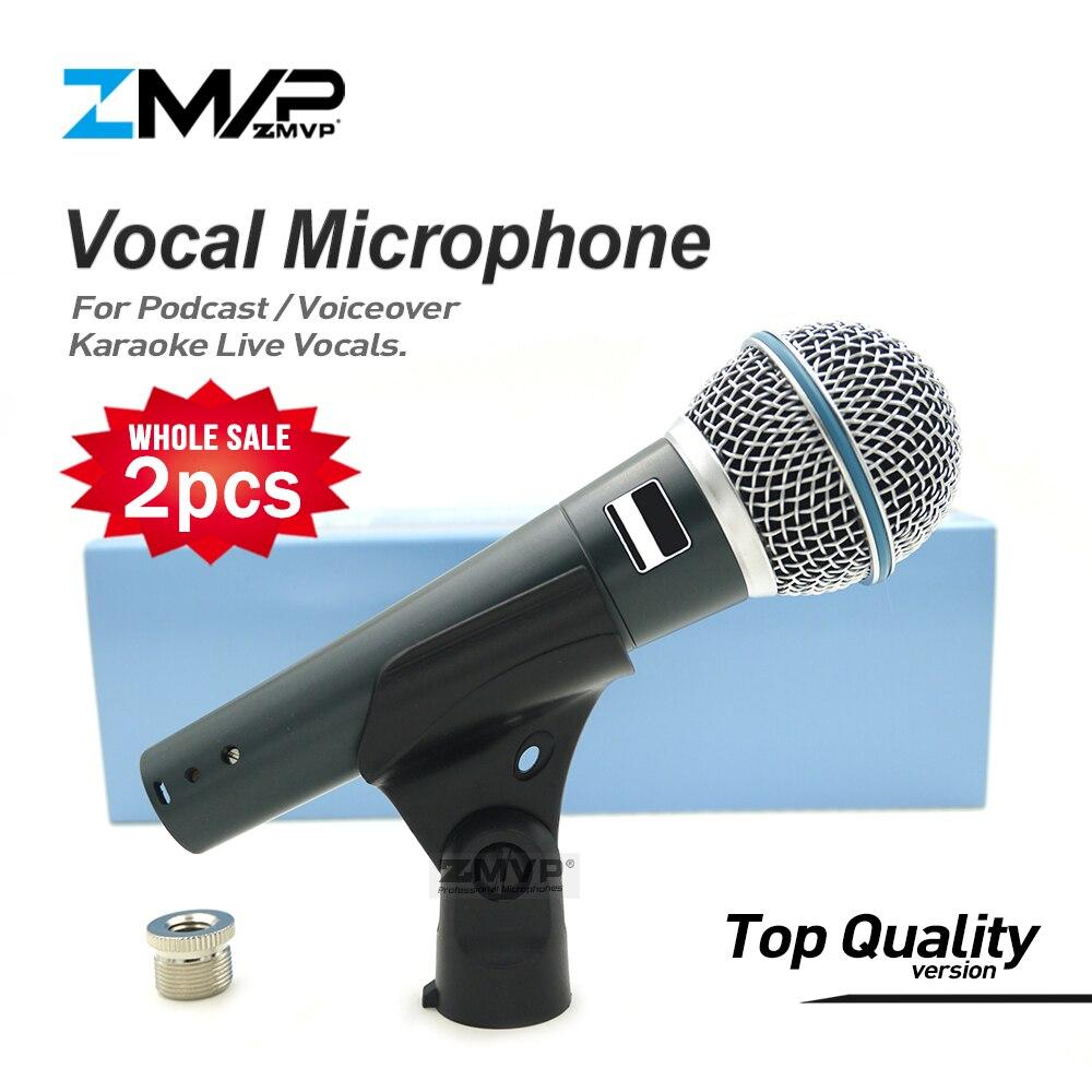 2pcs Top Qualidade Versão Super-cardióide BETA58 Vocais Ao Vivo Narração 58A Podcast Microfone Com Fio Microfone Dinâmico Karaoke Microfone
