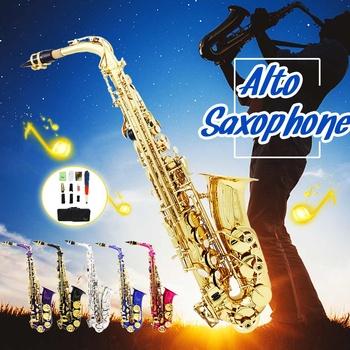 Ulepsz saksofon znakomity nowy Instrument orkiestrowy Eb płaski saksofon altowy saksofon altowy zwiększona trąbka z etui tanie i dobre opinie SENRHY Złoty lakier Mosiądz Bakelitu Other