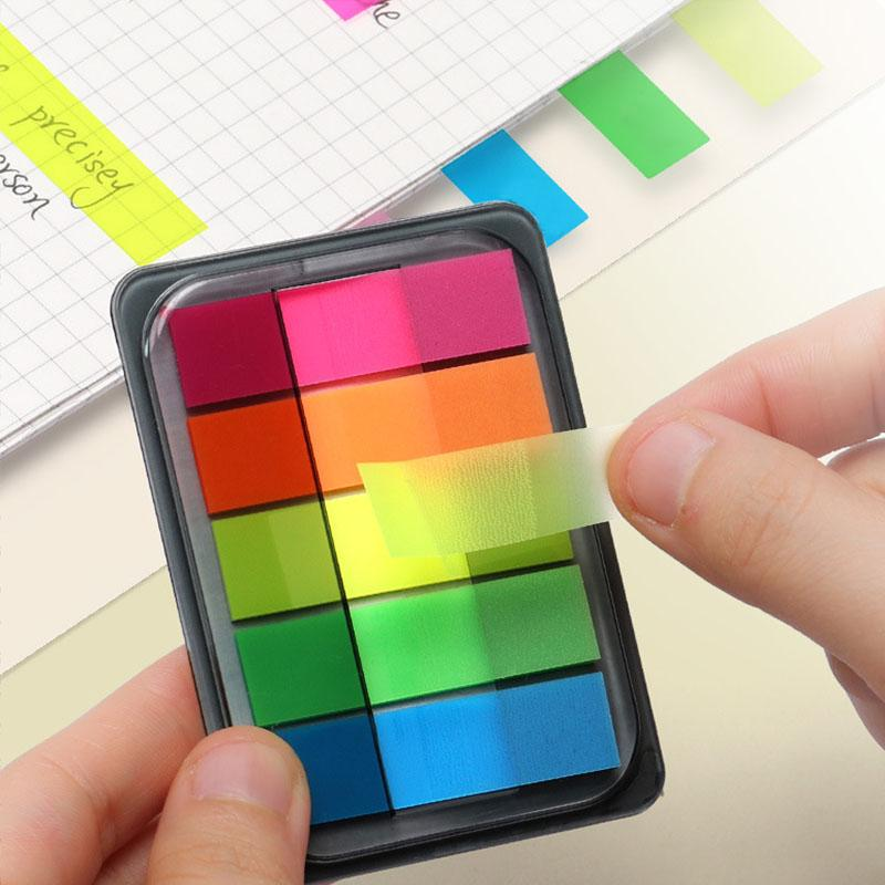 Reusable Multi Fluorescent Bookmark Sticker Reading Label Index Label Translucent Neon Colored Page Flags Fluorescent Page Book