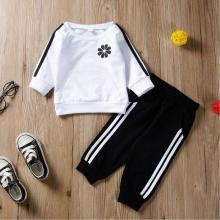 Baby Boys and Girls Clothes Set 2019 Fashion Childrens Flowers Line Print Long Sleeve Stripe