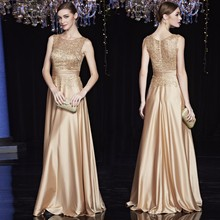 זול סאטן זהב מלכותי ערב כחול שמלות ארוך בתוספת גודל אלגנטית צד פורמלי שמלות אמא של הכלה שמלות בתוספת גודל