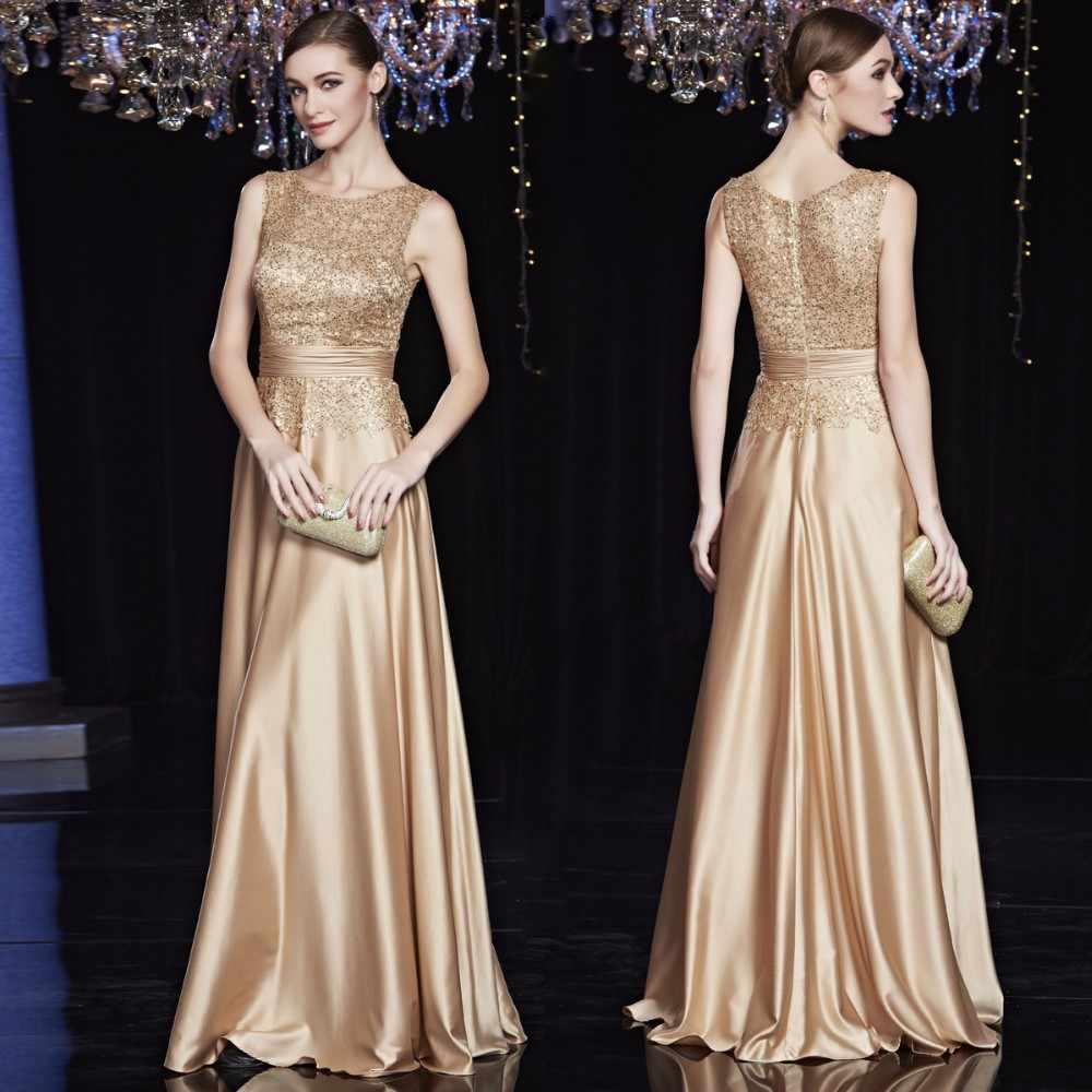 Недорогие атласные золотые королевские синие вечерние платья больших  размеров, элегантные вечерние платья для матери невесты 9e0337bea1b