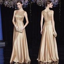 Goedkope Satin Gold Royal Blue Avondjurken Lange Plus Size Elegante Formele Partij Jurken voor Moeder van de Bruid Jurken plus Size