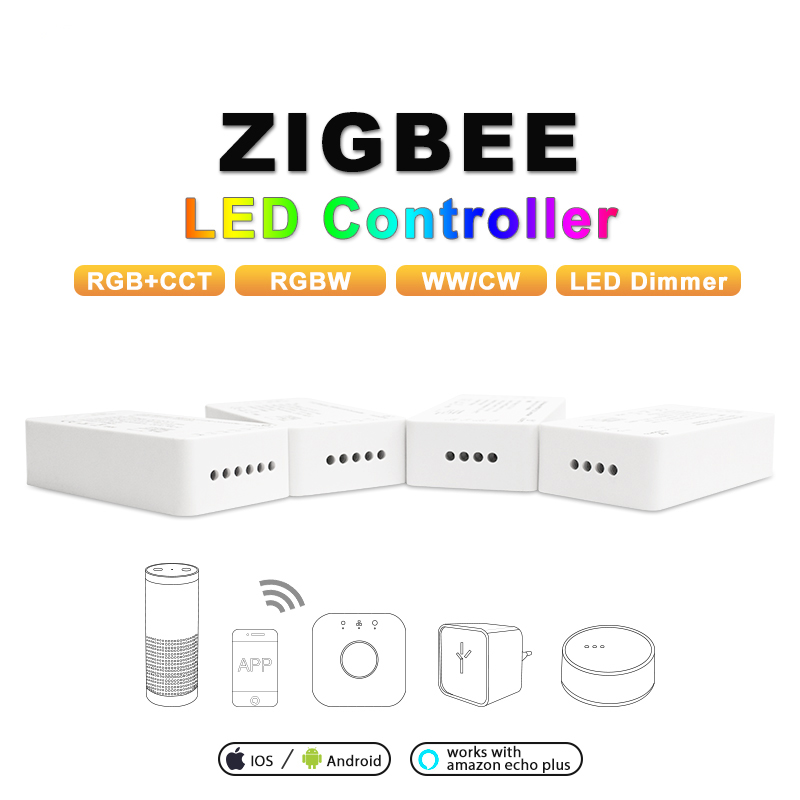 ZIGBEE ZLL RGBCCT RGBW RGB WWCW Dimmer Controller DC12 24V APP control Color and Brightness Adjustable for LED Strip in RGB Controlers from Lights Lighting