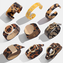 Flatfoosie Fashion ZA Leopard Bangle Bracelets For Women Boho Gold Color Button Vintage Leather Bracelet Christmas Punk Jewelry