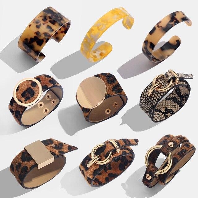 Flatfoosie Thời Trang ZA Leopard Bangle Vòng Đeo Tay Cho Phụ Nữ Boho Vàng Màu Nút Cổ Điển Da Vòng Đeo Tay Giáng Sinh Punk Đồ Trang Sức