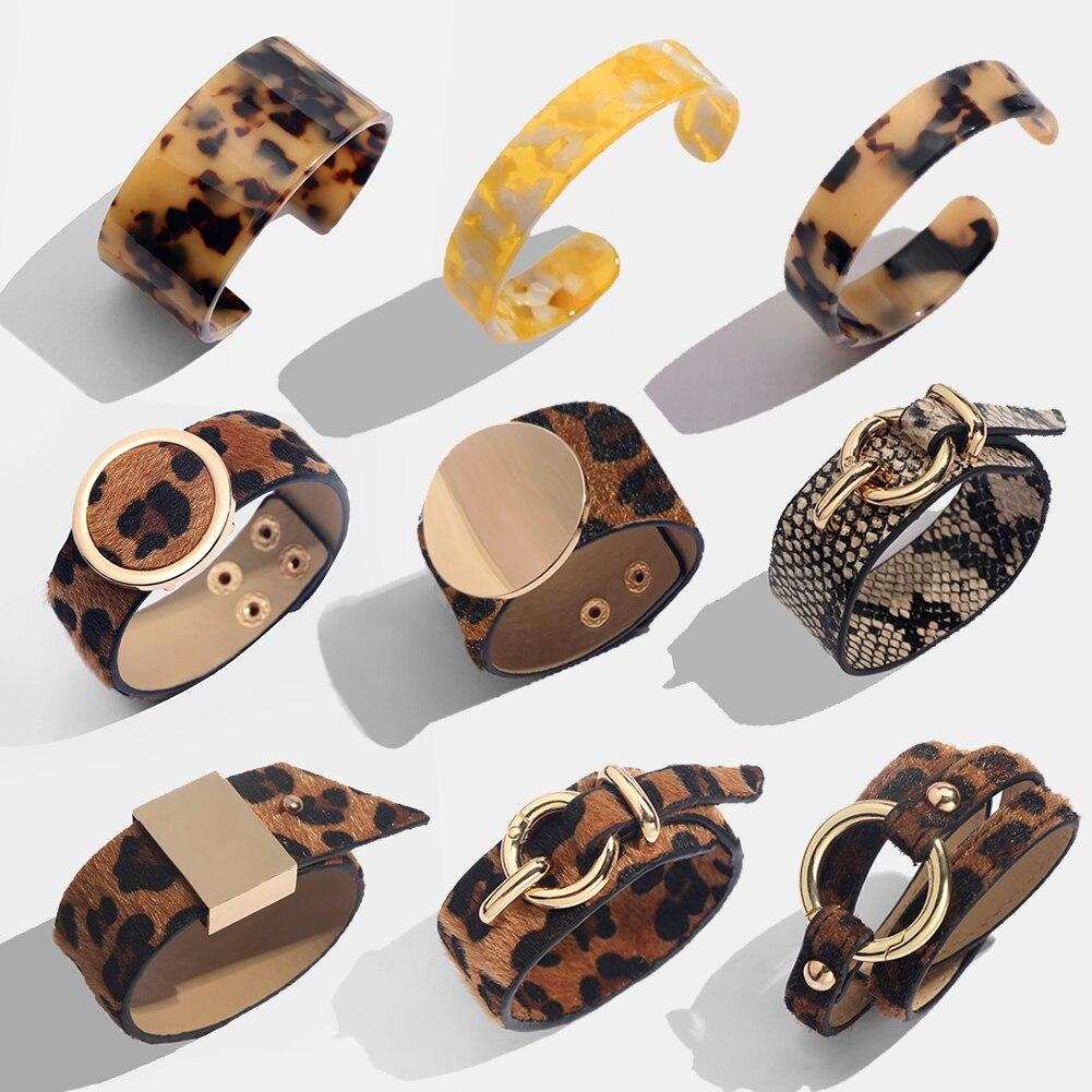 4c6c2861a302 Flatfoosie de México leopardo pulseras de brazalete para las mujeres Boho  oro Color botón Vintage pulsera de cuero Navidad joyería Punk
