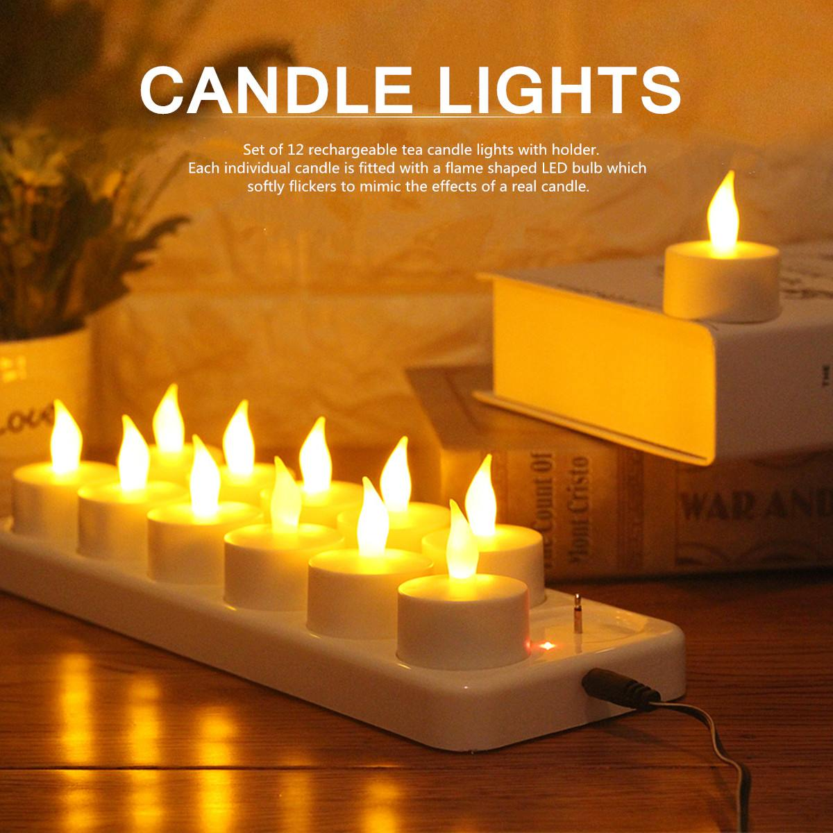 Flickering LED Tea Lights Candles 12 Rechargeable With Holder For Dinner Wedding Flame Shaped LED Bulb for Weddings Partys