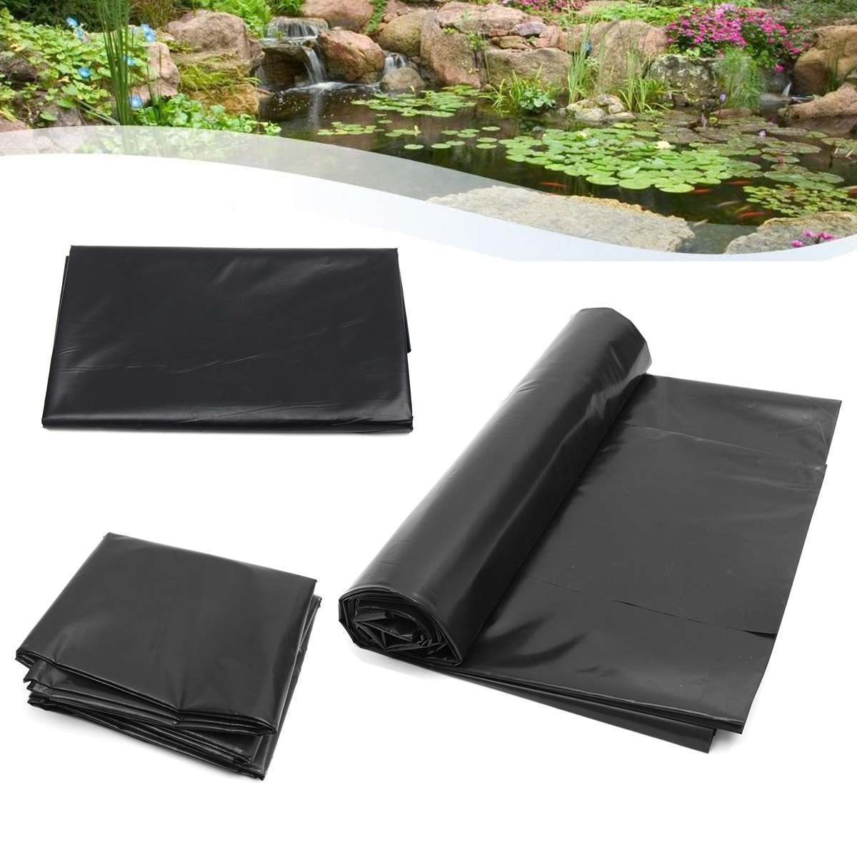 5'x10' HDPE Pond Liner Heavy   Landscaping Garden Pool Reinforced Waterproof Pool Liners Cloth Fish Breed Pond Liner Membrane