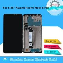 """6.26 """"Xiaomi Redmi Note 6 용 기존 M & Sen Redmi Note 6 디스플레이 용 프레임 + 터치 패널 디지타이저가있는 Pro LCD 디스플레이 화면"""