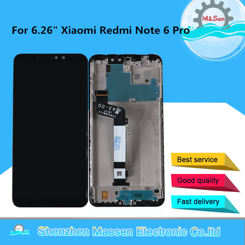 """Original M&Sen For 6.26"""" Xiaomi Redmi Note 6 Pro LCD Display Screen With Frame+Touch Panel Digitizer For Redmi Note 6 Display-in Mobile Phone LCD Screens from Cellphones & Telecommunications"""
