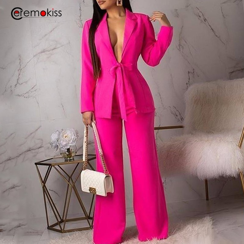 Ceremokiss Formal Pantsuits Work Fashion 2 Piece Pant Suit Female Women Suits Set Career Jackets Pants Two-piece Pants Trousers