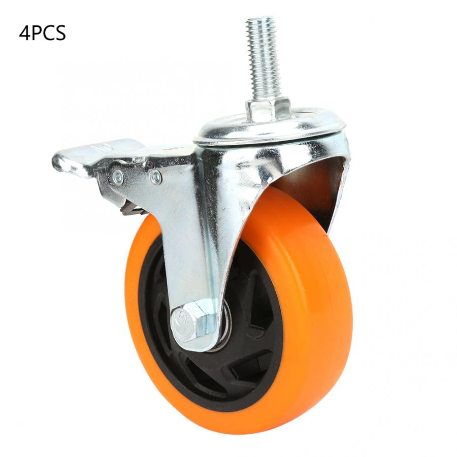 roller cabinets 4pcs 4 inch Orange Universal Swivel Bearing Caster Wheels for Trolley Light Cars with