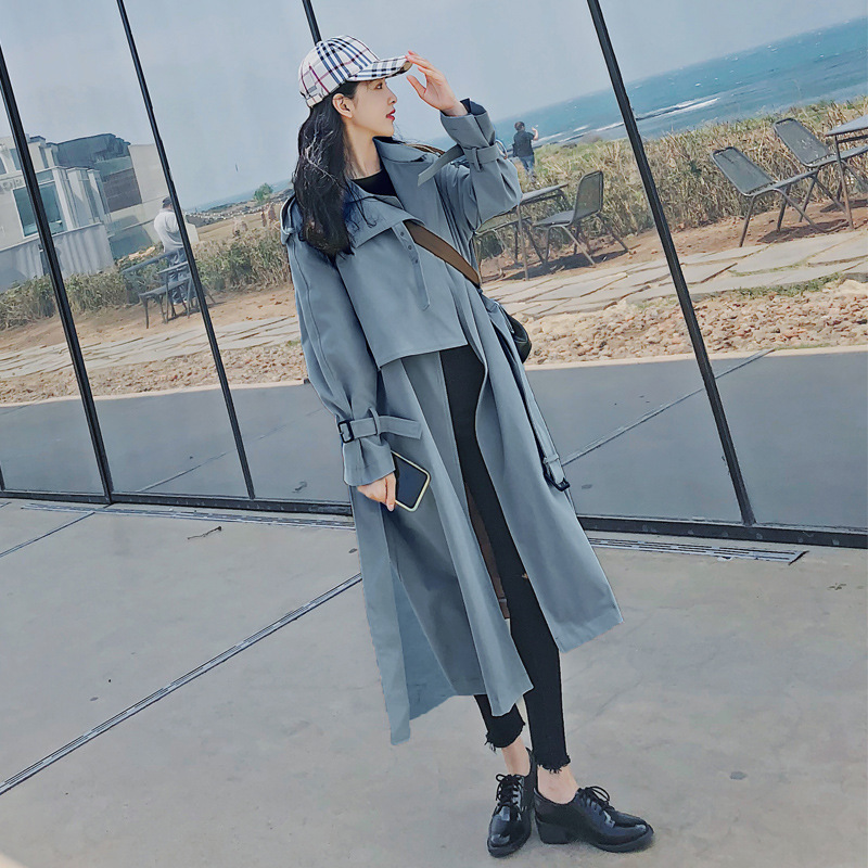 2019 Spring Newon Korean Long Overcoat Women's Loose Coat Classic   Trench   Coat Overknee Windbreaker Manteau Femme Cloak Outerwear