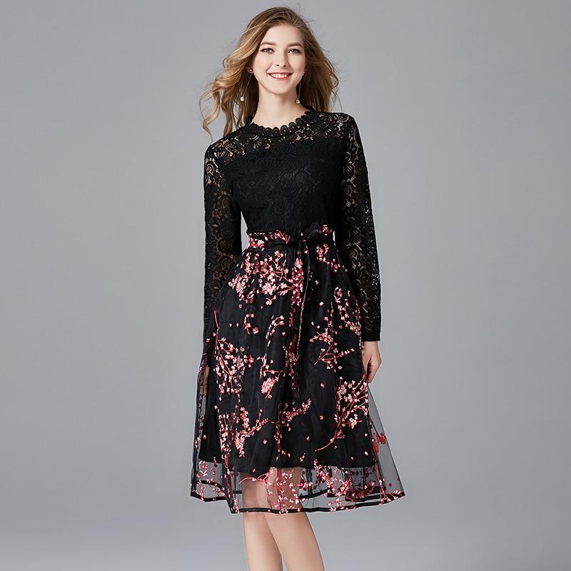 TAOYIZHUAI New Arrival spring autumn High Street Waist Plus Size L Print Organza Full Length Black Women Lace Dress 11602