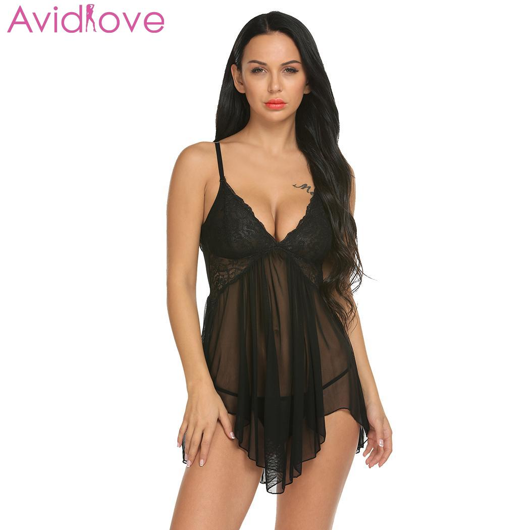 Avidlove Lace Women Sleepwear Sexy Lingerie Summer Sleepdress Babydoll Nightdress Plus Size Nightgown Sleepshirts Homewear