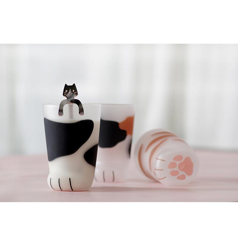 93 Kid 23Off Hot ins Coffee Cute Children Heat Cafe Breakfast In Us10 Cup Resistant Claw Frosted Glass Leg Mug Crystal Transparent Milk Cat eIYDE29WHb