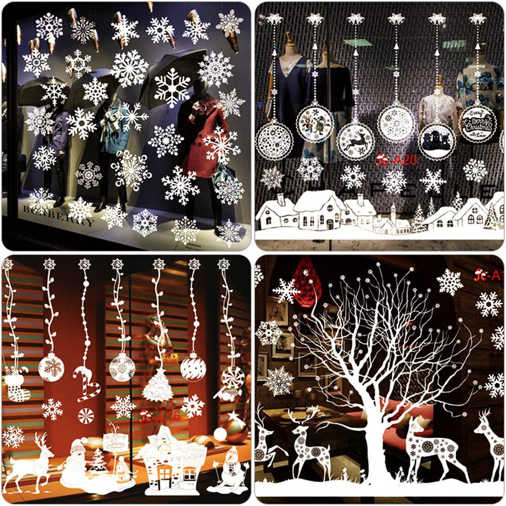 Wall Stickers Color Static Decal Removable No Adhesive DIY Stickers Christmas Tree Snowflake Decorative Stickers Window Decal Ar in Wall Stickers from Home Garden
