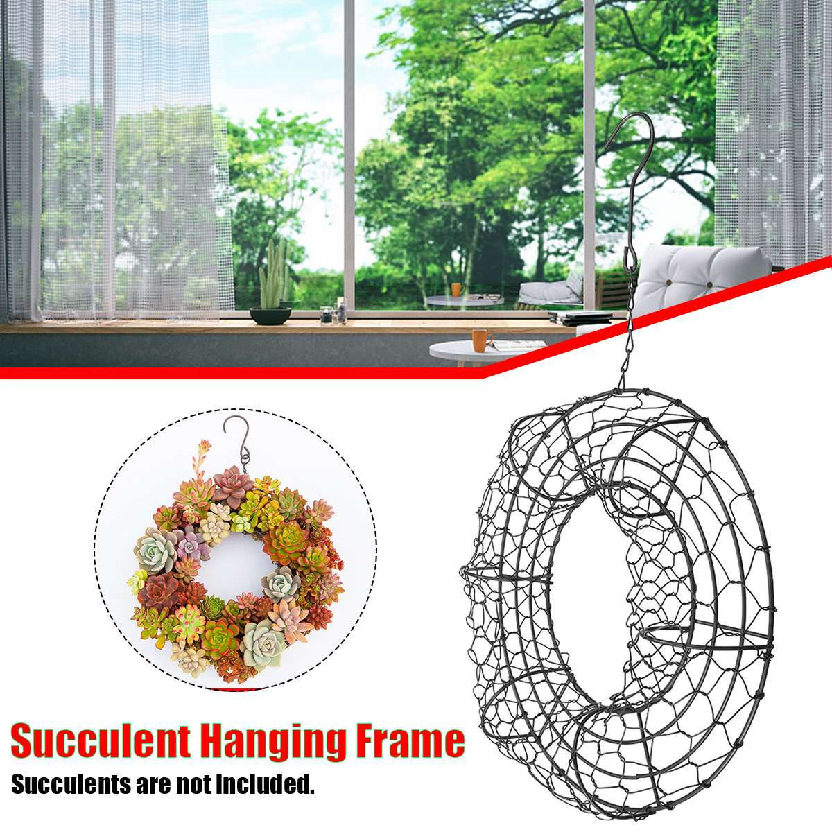 Garden Supplies Creativ Wall Hanging Holder Plant Pots Wreath Round Iron Hanging Planter Pot Flowerpot Wire Wreath For Succulent Plant Decor