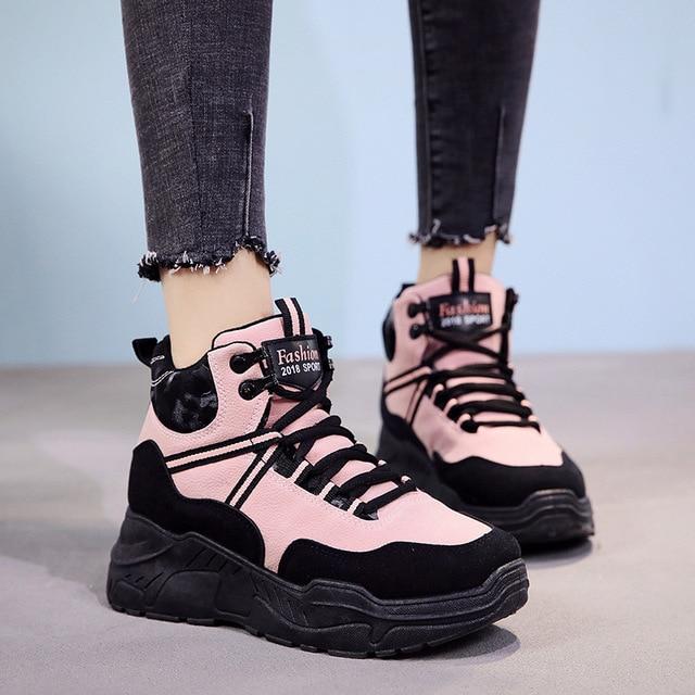 2fa3ff1ec62 2018 Women Sneakers Pink Women Casual Shoes Korean Platform Sneakers High  Top Ladies Shoes Black Thick Bottom Winter Sneakers