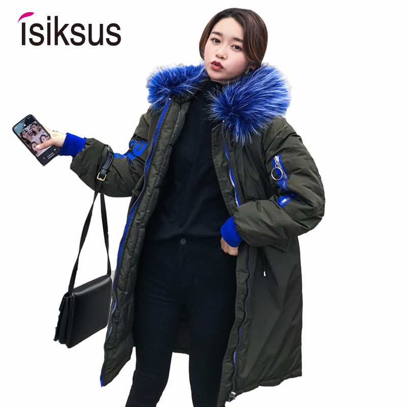 Isiksus Black Warm Winter Jackets Womens Long Large Size Hooded   Parkas   Thick Down Jacket And Coats Fur Collar For Women WP020
