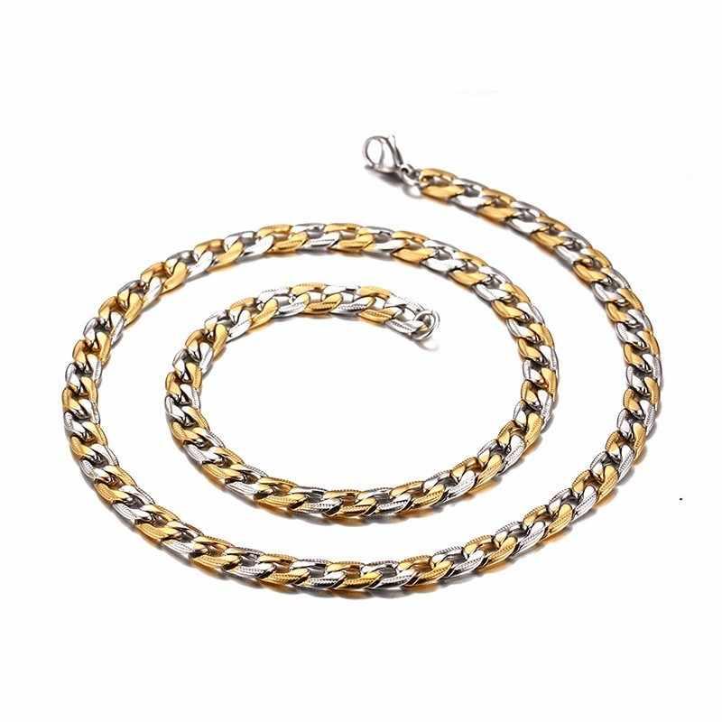 Hop Man naszyjnik łańcuch złoty srebrny pasujący łańcuszek ze stali nierdzewnej Link 7mm z biżuterią mężczyzn