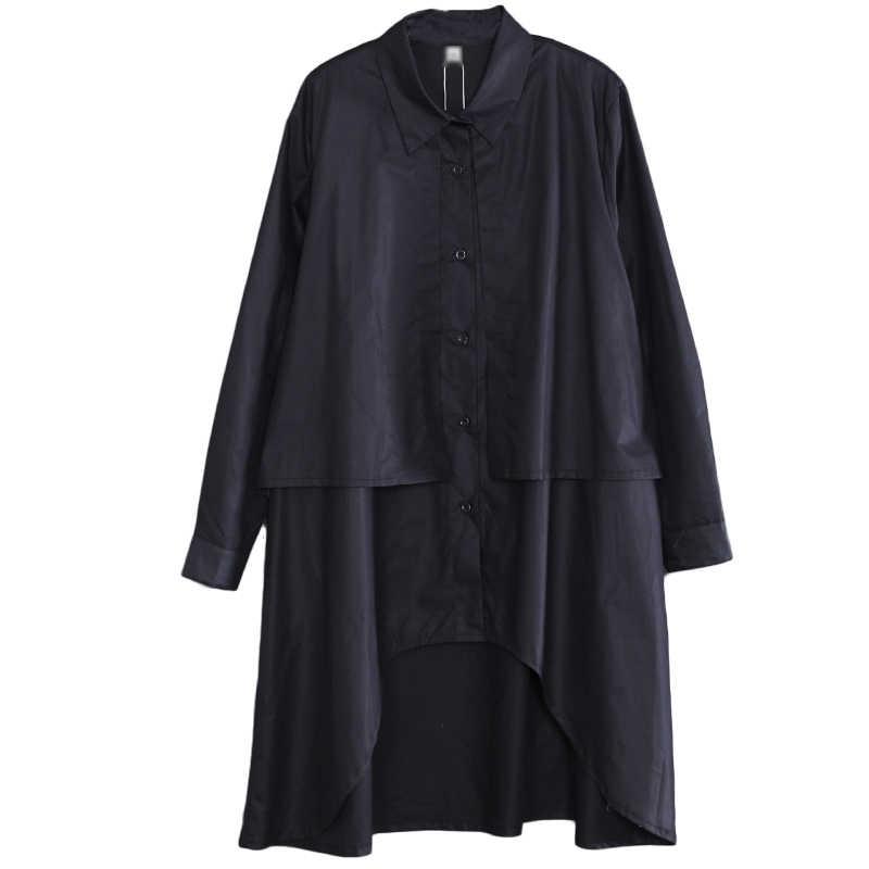 CHICEVER 2019 весенние женские топы и блузки с лацканами и длинным рукавом с асимметричным подолом, свободная черная блузка большого размера, модная одежда