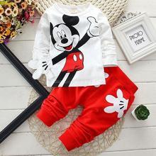 Купить с кэшбэком Baby boy clothes suit girl fashion children toddler clothes suit children Mickey pajamas printed cotton baby boy girl clothes
