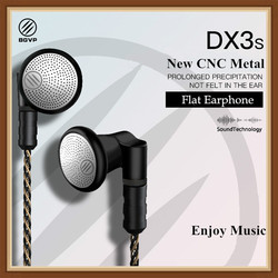 BGVP DX3S 2.5mm/3.5mm Wired Earphone CNC Metal Composite Dynamic HiFi Flat Earphone with MMCX 5N 8 Core OCC Silver Plated Cable