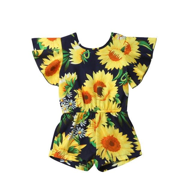 2019 Verão Criança Crianças Bebê Menina Manga Alargamento Girassol Romper Jumpsuit Roupas Outfit Sunsuit 6M-4Y