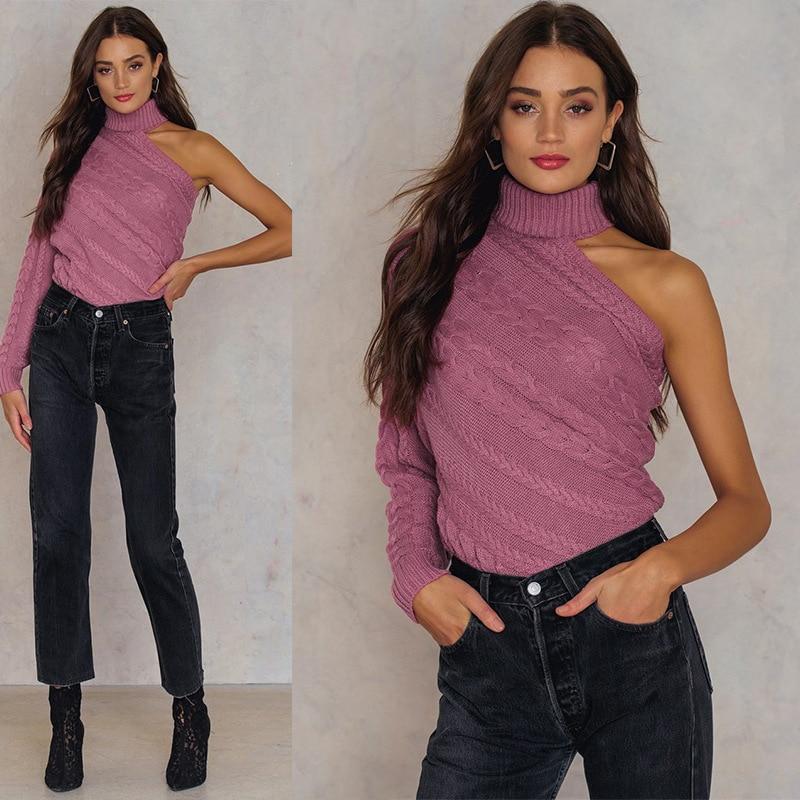 Pullovers blanco 2018 Rosado Hombro Jumpers Solid Del Caliente Suéteres Oversize Turtleneck Mujer Invierno Moda Grueso Pull Otoño Aazzw1