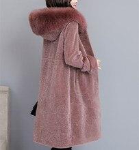 New 2018 Autumn Winter Women Long Woolen Coat Sheep Shearing Large Size Coats Fox Fur Collar Hooded Thick Outerwear