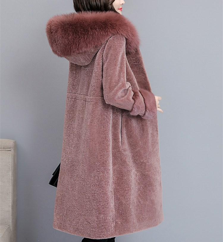 Nouveau 2018 Automne Hiver Femmes Long manteau en laine Tonte des Moutons grande taille Manteaux Renard col de fourrure À Capuchon Épais Survêtement