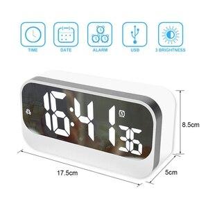 Image 5 - Réveil numérique Led, horloge Led avec Surface miroir réglage de lalarme luminosité réglable affichage des secondes, alarme de chevet