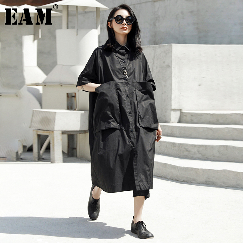 [EAM] 2020 New Spring Summer Round Neck Half Sleeve Black Pocket Split Joint Loose Big Size Shirt Dress Women Fashion JT540