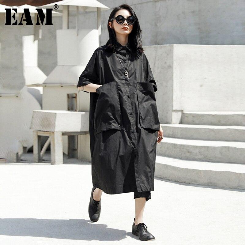 [EAM] 2020 New Spring Summer Round Neck Half Sleeve Black Pocket Split Joint Loose Big Size Shirt Dress Women Fashion JT540
