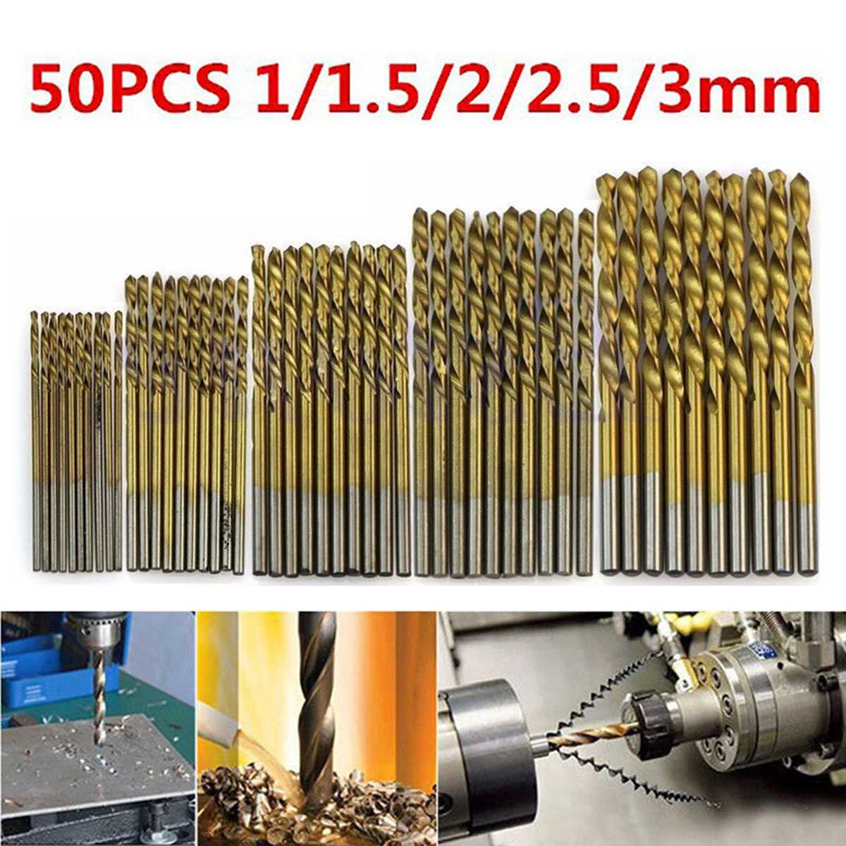 New 50pcs High Speed Steel Twist Drill 1.0/1.5/2.0/2.5/3.0mm Titanium Coated HSS Drill Woodworking Hand Tools Drill Bit Set