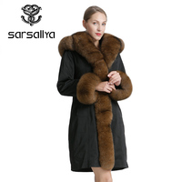 SARSALLYA Women Clothing Winter Fashion Warm Overcoat Real Fox Fur Coat Parkas Jacket parka And Coat Natural Fox Fur Collar Jac