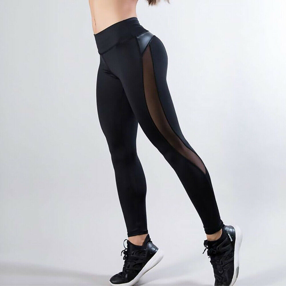 Ladies Black High Waisted GYM Joggers Sports Leggings Pants For Women Girls