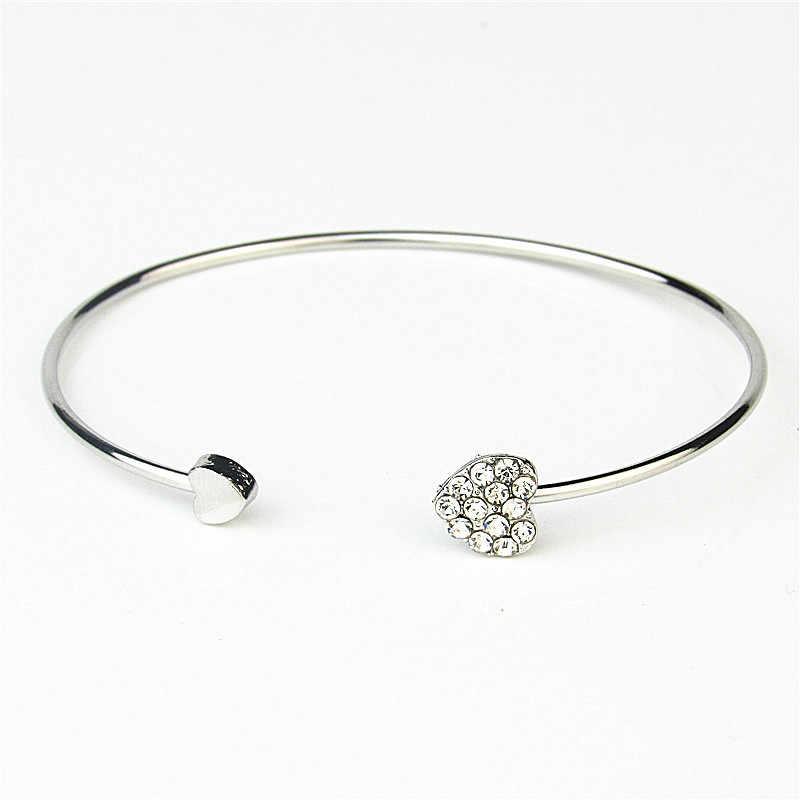 Adjustable Opening Bracelet Women Jewelry Silver Crystal Double Heart Bow Cuff For Women Bracelets Bangles Female Love Bracelet