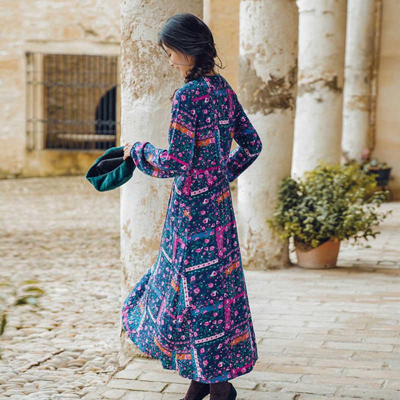 INMAN printemps automne col rond taille définie à manches longues femmes robe