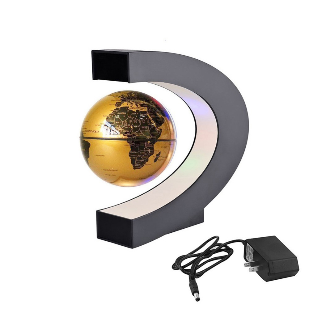 LED World Map Magnetic Levitation Floating Globe Home Electronic Antigravity C Shape Lamp Novelty Ball Light Birthday Gifts