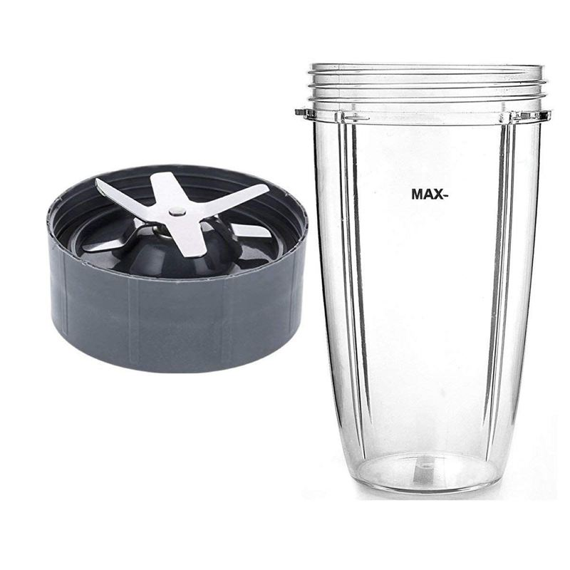 Nutri Compatible 32oz Cup & Blade Replacement Set - Tall Blender Cup & 6 Fin Extractor Blade Accessories
