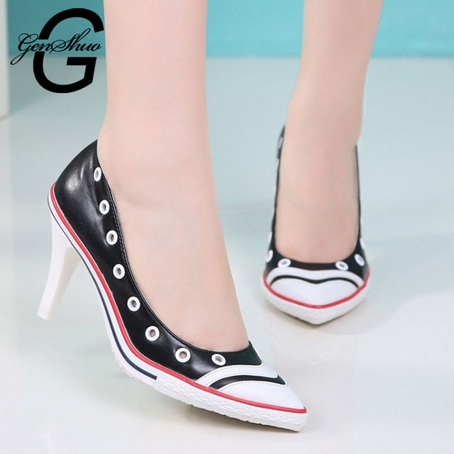 GENSHUO Femmes Talons Women Fashion Black White PU Leather High Heel Shoes Lady Casual Lace Up/Slip on Comfortable Women Pumps