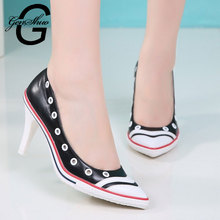 Genshuo Femmes Cakar Fashion Wanita Hitam Putih Pu Kulit Sepatu Hak Tinggi Wanita Kasual Renda/Slip Yang Nyaman wanita Pumps