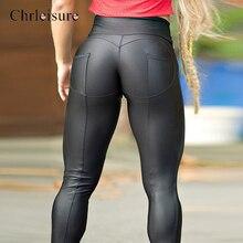 Chrleisure נשים כושר חותלות גבוה מותן Push Up חותלות לנשים אופנה מוצק טלאי נשים של מכנסיים