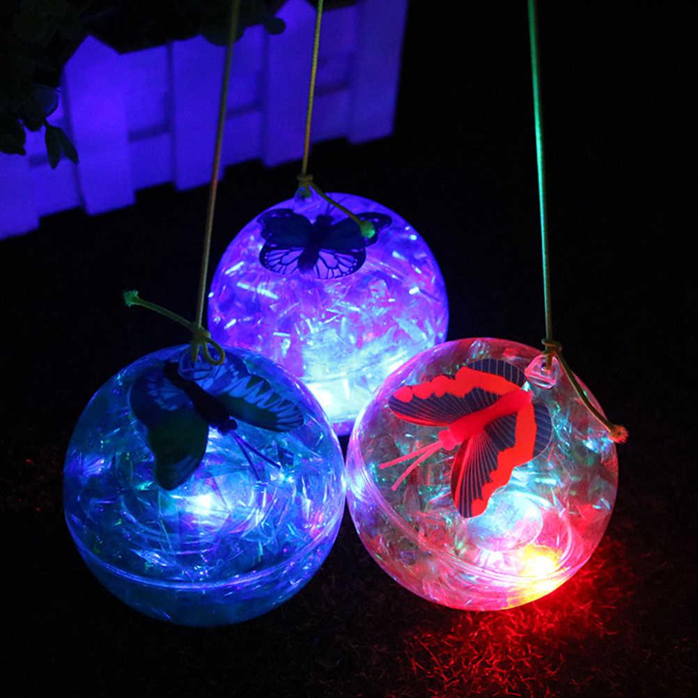 1 pcs 나비 탄성 공 플래시 튀는 공 리본 빛나는 탄성 점프 공 어린이 선물