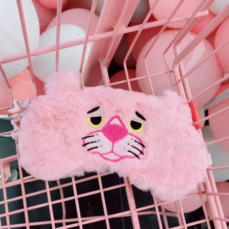 1 Pc Kawaii Pink Panther Eye Mask Cartoon Sleeping Mask Plush Eye Shade Cover Blindfold Eyeshade Hairband for Girl Plush Toy