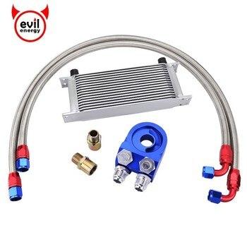 evil energy Universal 16Row AN10 Transmission Oil Cooler+Oil Adapter Filter Cooler Plate Kit+Nylon Braided Oil Hose Line Silver